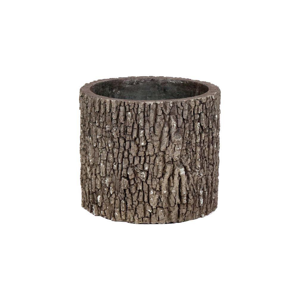 Vertical 13 in. H Oak Bark Color Polyurethane Planter