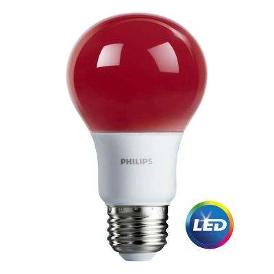 60-Watt Equivalent A19 Non-Dimmable Red LED Colored Light Bulb