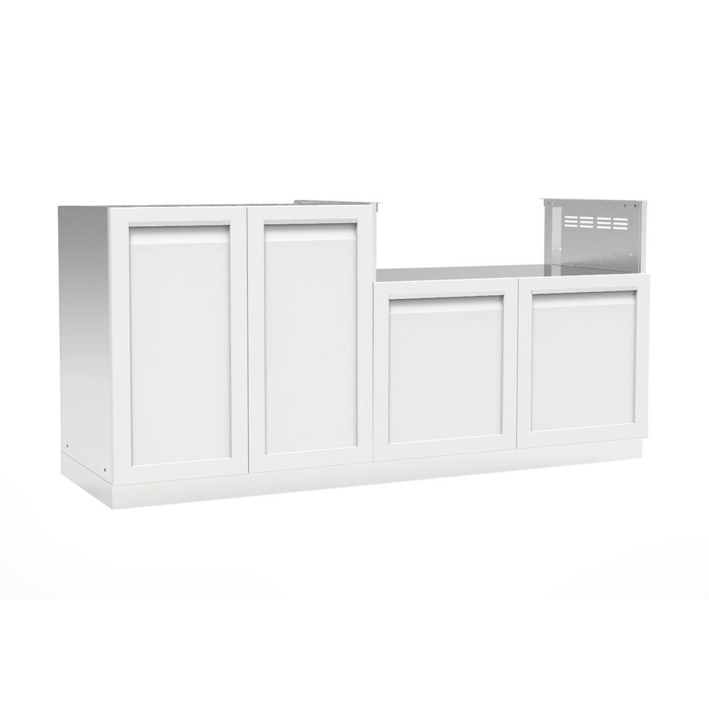Stainless steel 2 piece 72x35x22 5 in outdoor kitchen cabinet set with powder coated doors in white
