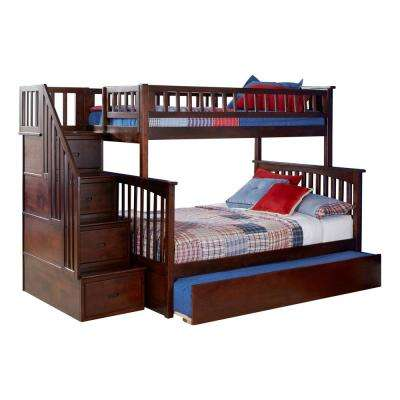Columbia Staircase Walnut Twin Over Full Bunk Bed with Twin Urban Trundle Bed