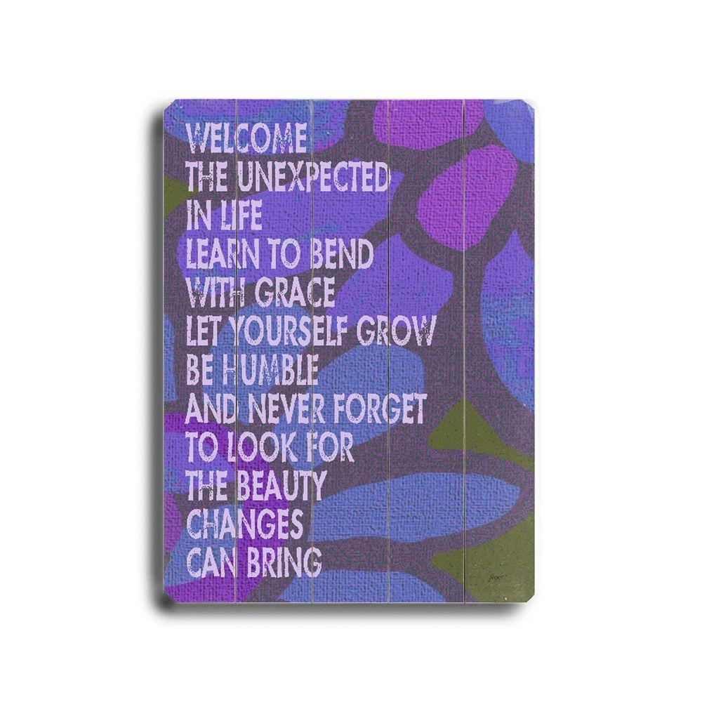 ArteHouse 9 in. x 12 in. Welcome the Unexpected Wood Sign-DISCONTINUED