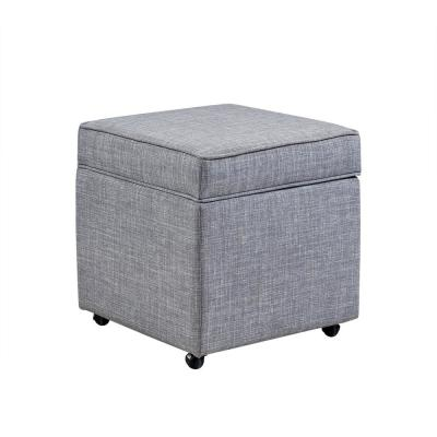 Laurie Light Grey Linen Upholstered Rolling Cube Storage Ottoman