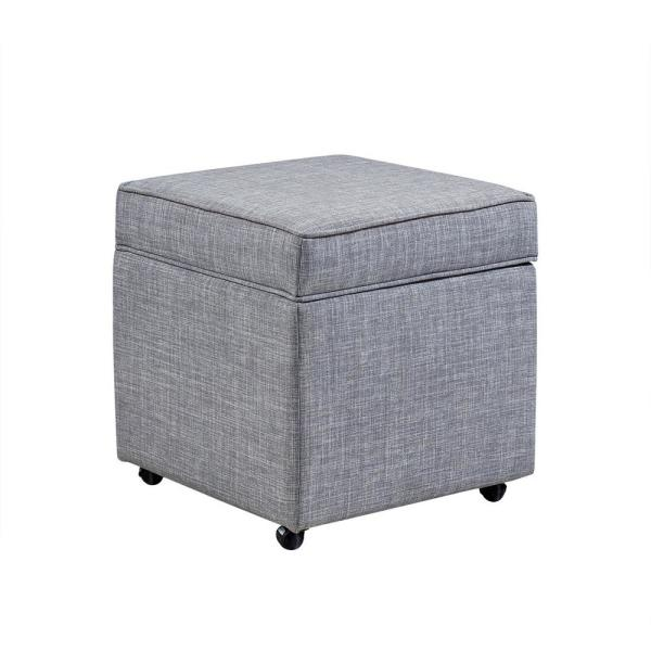 Inspired Home Laurie Light Grey Linen Upholstered Rolling Cube Storage Ottoman