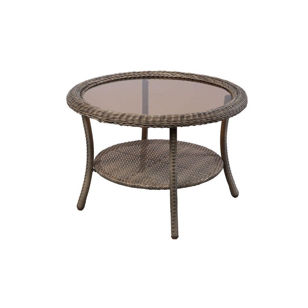 Hampton Bay Spring Haven Grey Round Wicker Outdoor Patio Coffee Table by Hampton Bay