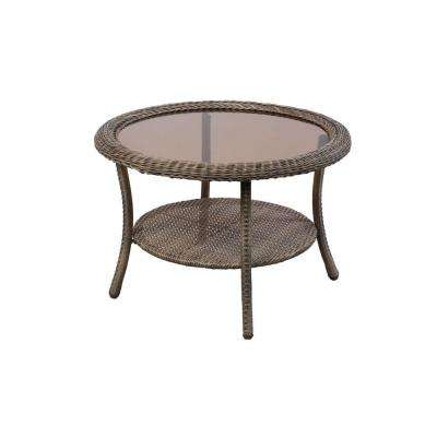 Spring Haven Grey Round Wicker Outdoor Patio Coffee Table