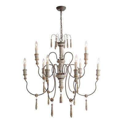 9-Light Persian White Wood French Country Chandelier