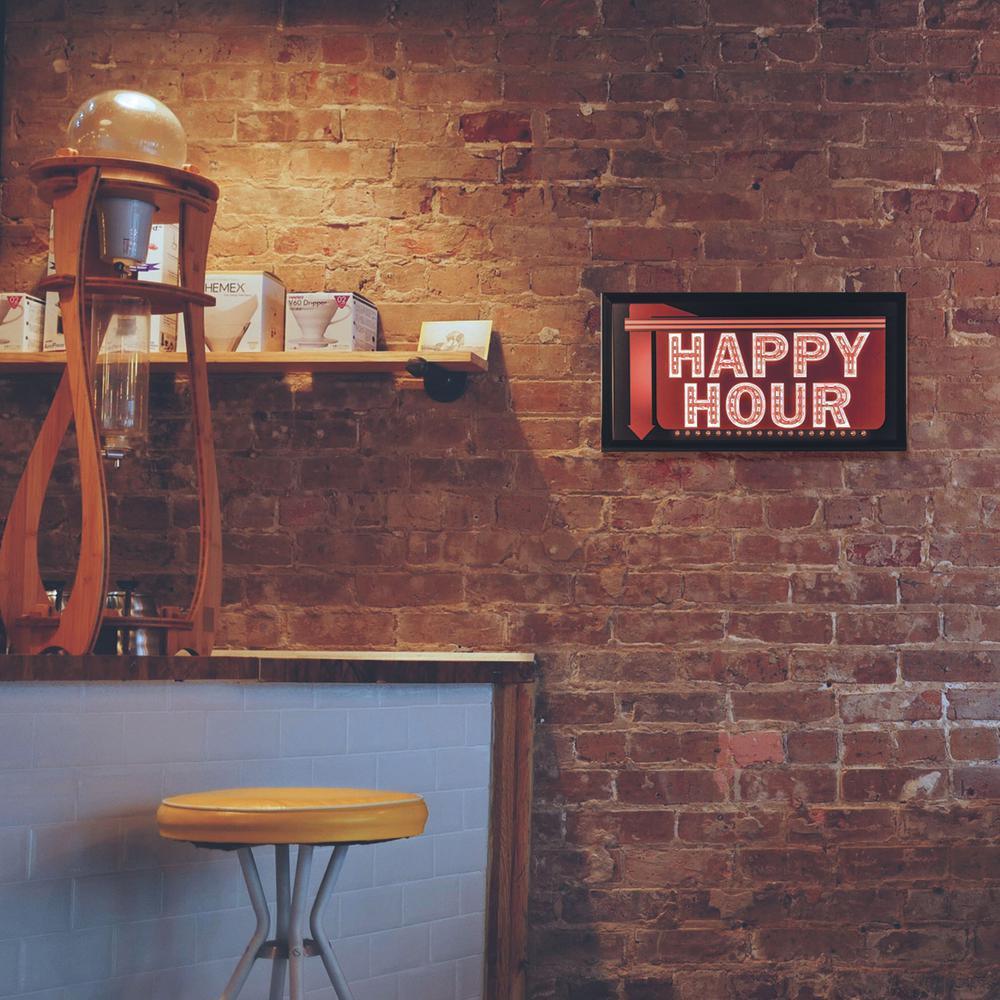 Happy Hour Down Arrow Framed LED Sign