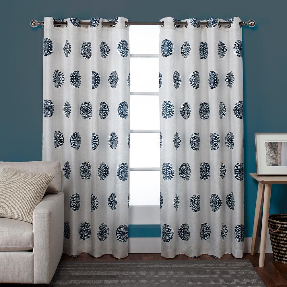 Sedgewick Teal Linen Blend Grommet Top Window Curtain