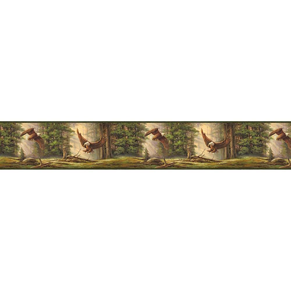 Houghton Olive Eagles Wallpaper Border Sample