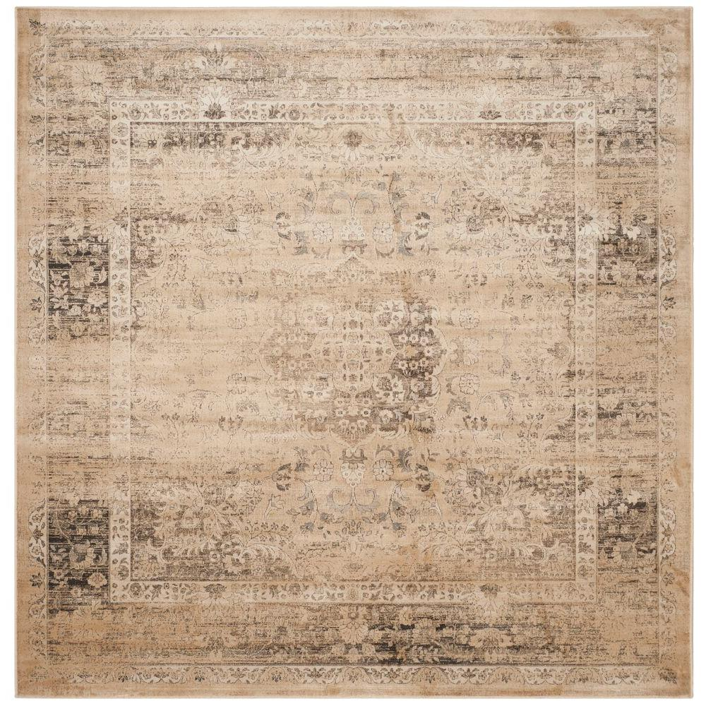 Safavieh vintage warm beige 8 ft x 8 ft square area rug for Warm rugs