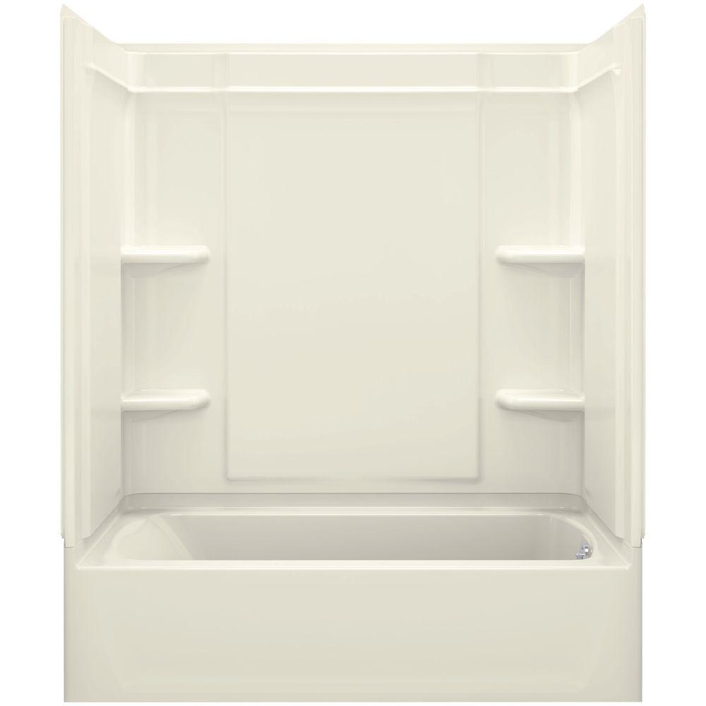 STERLING Ensemble Medley 60 in. x 31.25 in. x 77 in. 4-piece Tongue and Groove Tub Wall in Biscuit