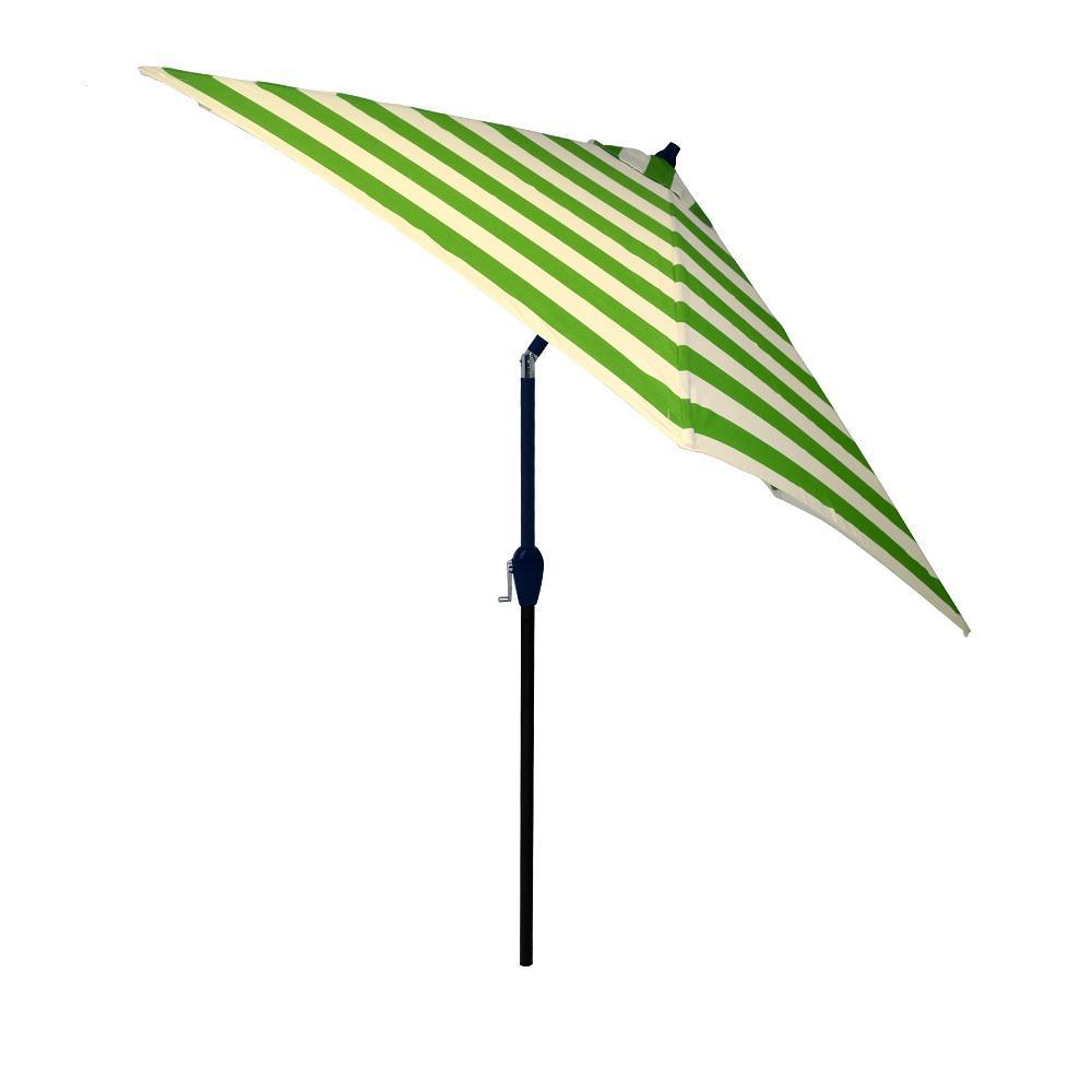 9 ft. Aluminum Market Tilt Patio Umbrella in Citrus Cabana Stripe