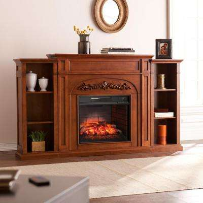 Binghamton 72.5 in W Bookcase Infrared Electric Fireplace in Autumn Oak