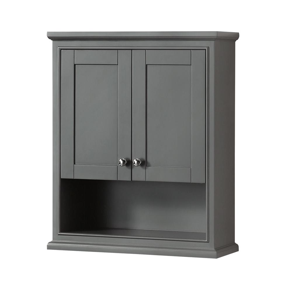 Wyndham collection deborah 25 in w x 30 in h x 9 in d bathroom storage wall cabinet in dark Bathroom cabinets gray