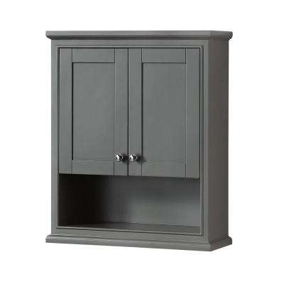 Deborah 25 in. W x 30 in. H x 9 in. D Bathroom Storage Wall Cabinet in Dark Gray
