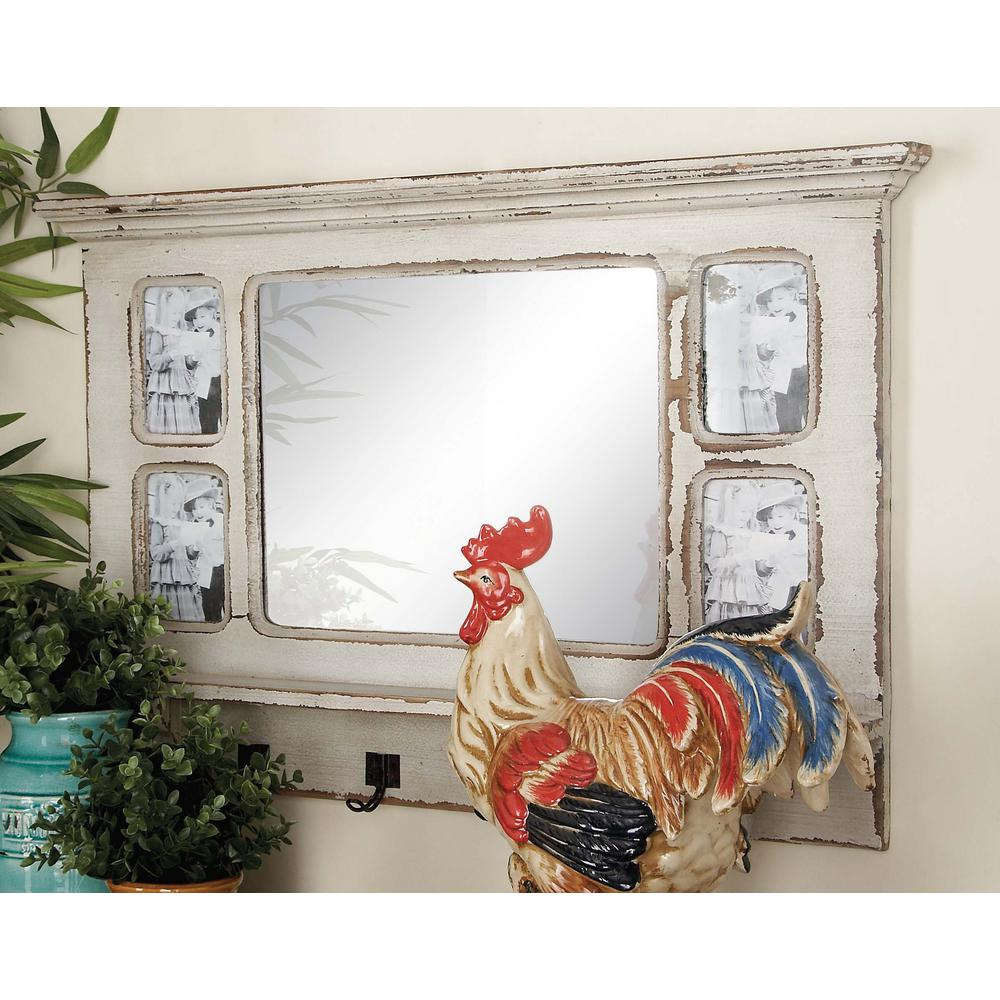 22 in x 34 in wooden white wall mirror with photo frames and 22 in x 34 in wooden white wall mirror with photo frames and hooks jeuxipadfo Choice Image