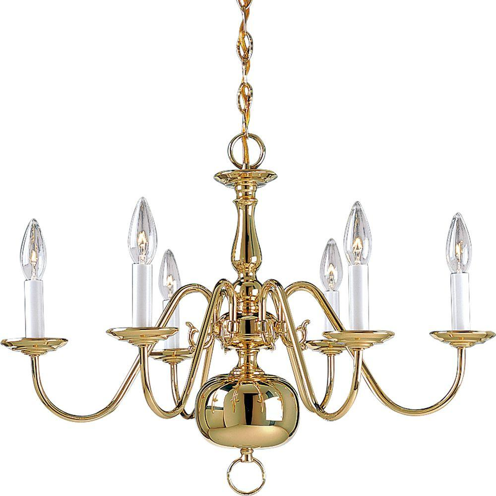 Americana Collection 6 Light Polished Brass Chandelier