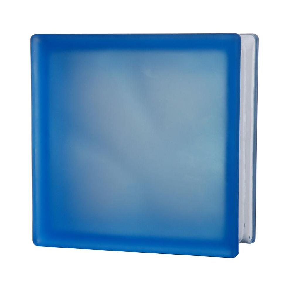 TAFCO WINDOWS 7-1/2 in. x 7-1/2 in. Misty Wave Pattern Blue Glass Block 5/CA-DISCONTINUED