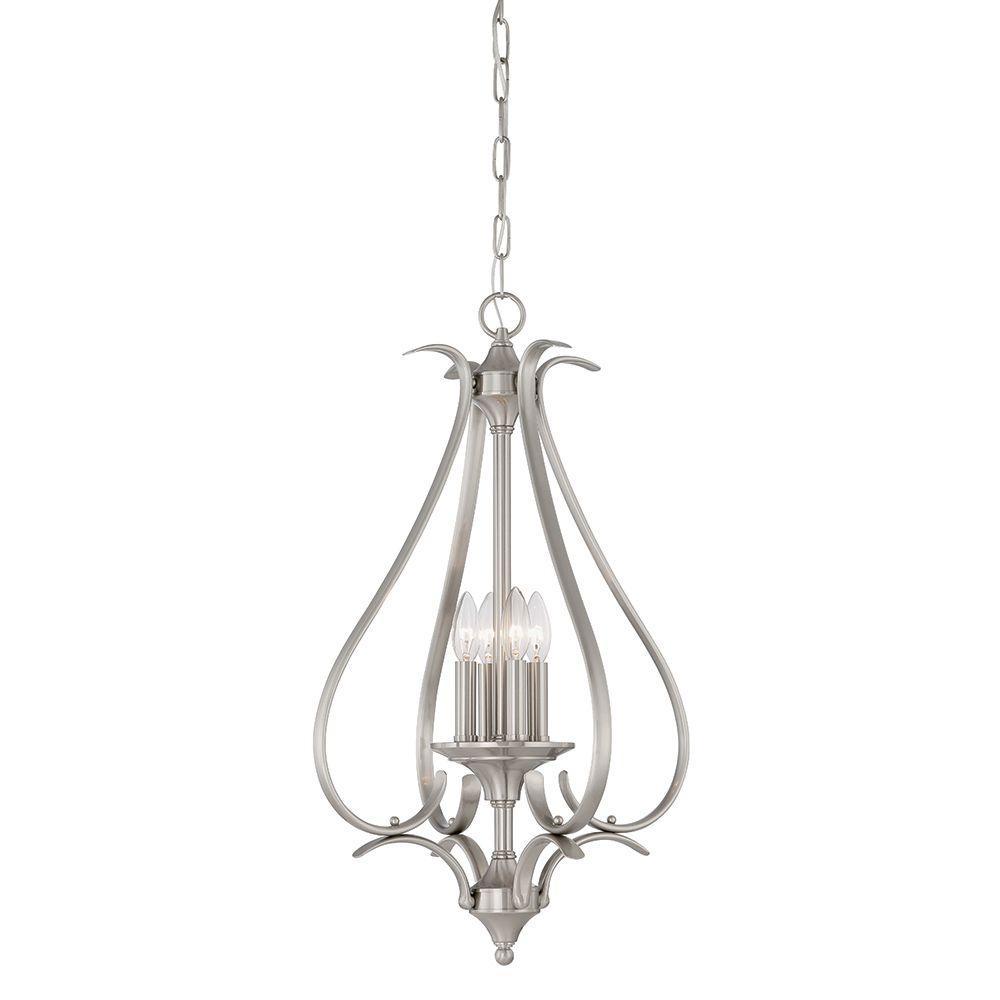 buy thomas lighting pendenza 5 light brushed nickel hanging