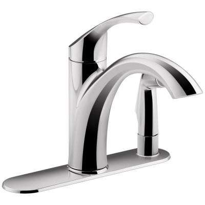 Mistos Single-Handle Standard Kitchen Faucet with Side Sprayer in Polished Chrome