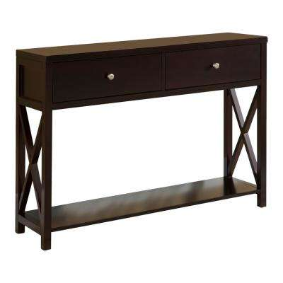 Dark Cherry Entryway Console Table with 2-Drawers