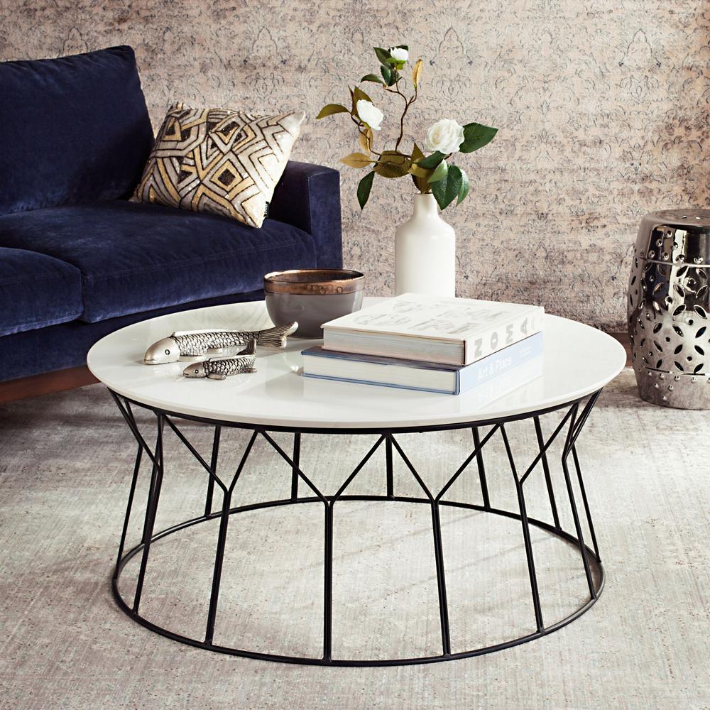 Safavieh Deion Retro Mid Century Lacquer White Coffee Table FOX4259B   The  Home Depot