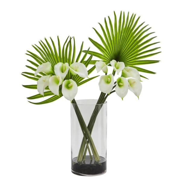 Nearly Natural Calla Lily and Fan Palm Artificial Arrangement in Cylinder