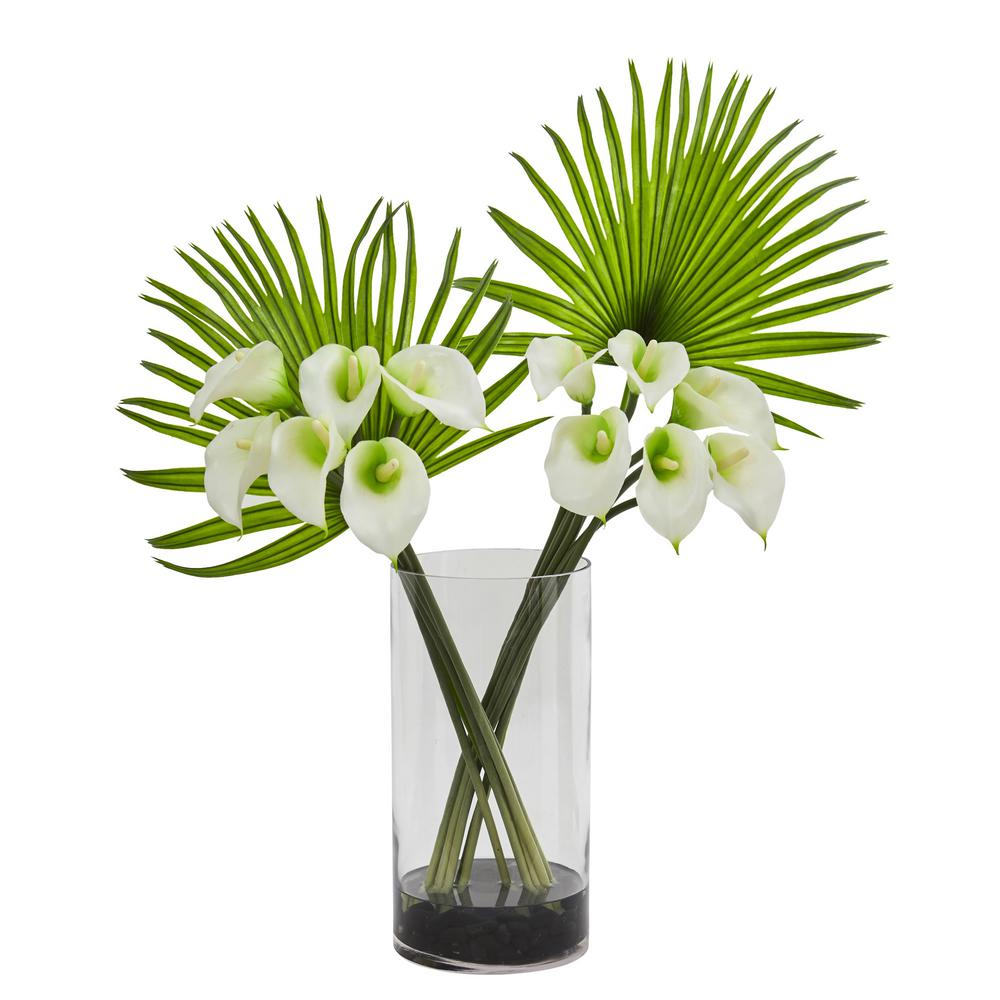 Nearly Natural 1543-CR Fan Palm and Calla Lily Arrangement Artificial Plant Cream