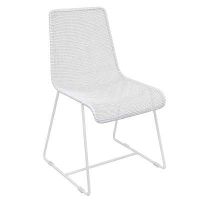 32 in. White Metal Side Chair