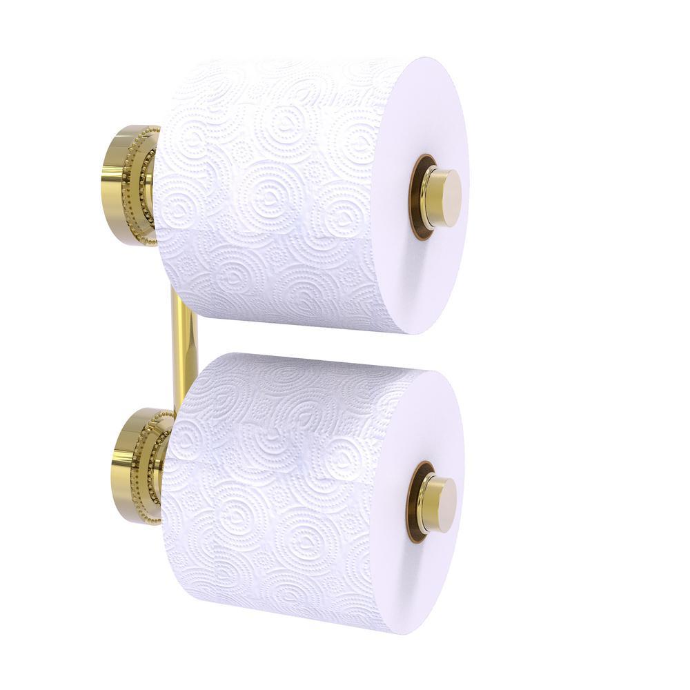 Dottingham 2 Roll Reserve Roll Toilet Paper Holder in Unlacquered Brass