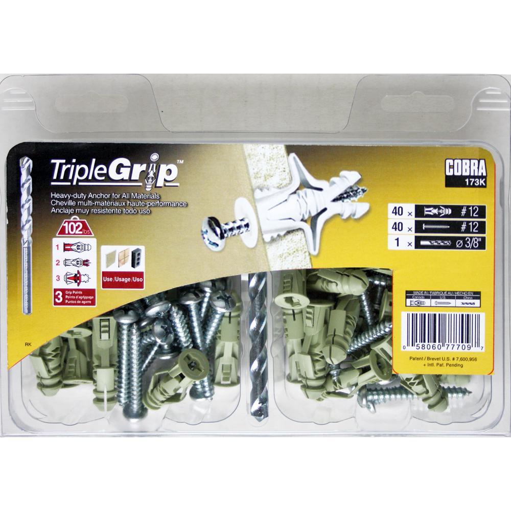 # 8 1//4 Hole Plastic Triple Grip Anchors Box of 100