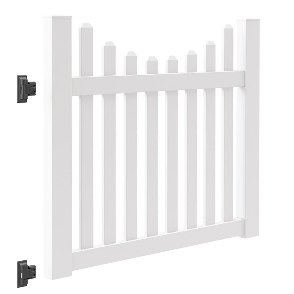 Seneca Scallop 5 ft. W x 4 ft. H White Vinyl Un-Assembled Fence Gate