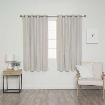 Linen Look 52 in. W x 63 in. L Grommet Curtains in Linen (2-Pack)
