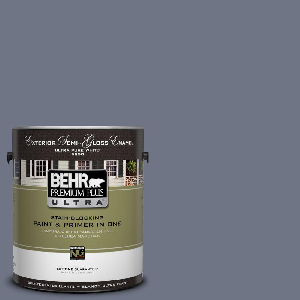 BEHR Premium Plus Ultra 1-Gal. #UL240-4 Lunar Shadow Semi-Gloss Enamel Exterior Paint