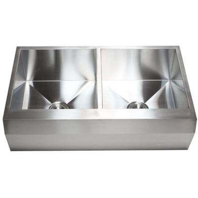 Farmhouse Well Angle Apron Stainless Steel 16-Gauge 36 in. x 22 in. x 10 in. 50/50 Zero Radius Double Kitchen Combo Sink