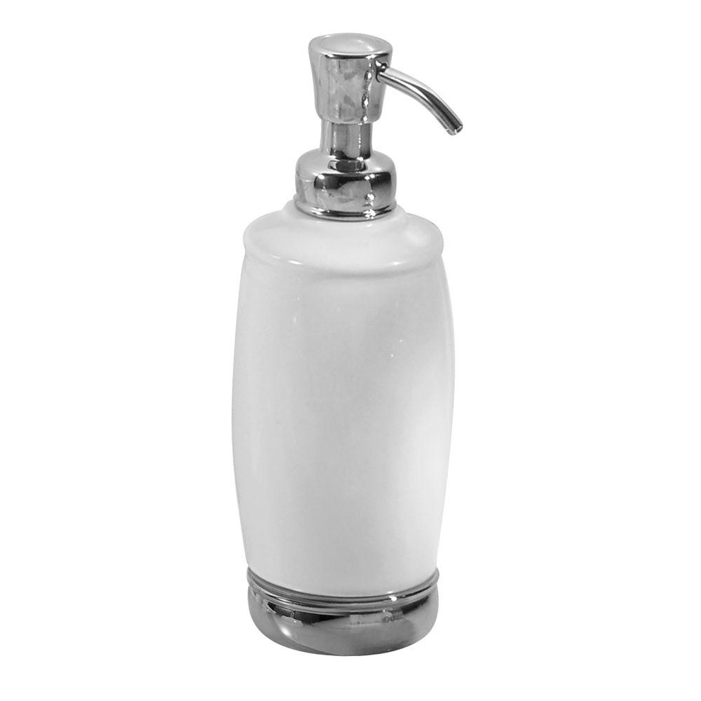 Interdesign York 2 Tall Soap Pump Dispenser In White And Chrome