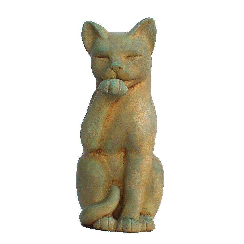 Garden Statues Home Depot: Cast Stone Contented Cat Garden Statue, Weathered Bronze