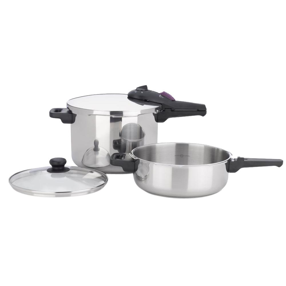 Splendid 3-Piece Stainless Steel (Silver) Cookware Set wi...