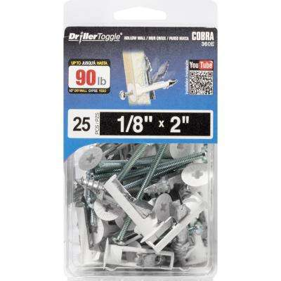 1/8 in. x 2 in. DrillerToggle Plus Bolt (25-Pieces)