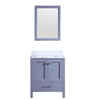 Shaker 30 in. W x 22 in. D x 34 in. H Vanity in Grey with Carrara Marble Top in White with White Basin