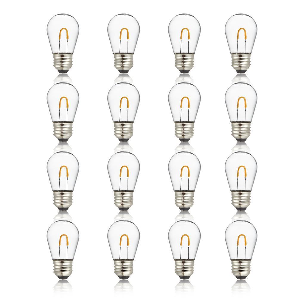 11-Watt Equivalent Curved Filament S14 LED Plastic Light Bulb Warm White (16-Pack)
