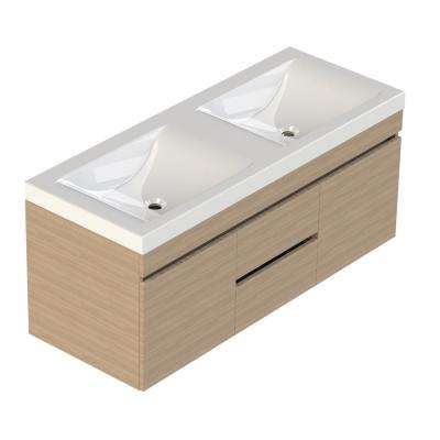 Viteli + Siena 48 in. W x 19 in. D Bath Vanity in Latte with Cultured Marble Vanity Top in White with Double White Basin
