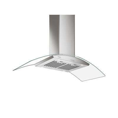 48 in. 630 CFM Convertible Ducted Island-Mount Glass Canopy Range Hood with LED in Stainless Steel
