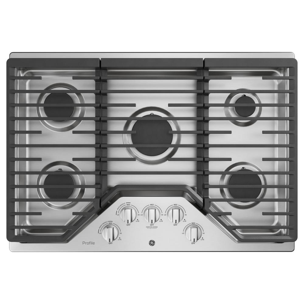 Ge Profile 30 In Gas Cooktop Stainless Steel With 5 Burners Rapid Boil