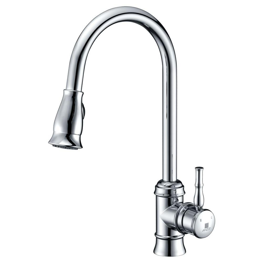 Sails Series Single-Handle Pull-Down Sprayer Kitchen Faucet in Polished Chrome