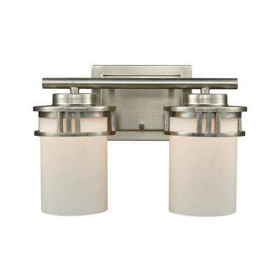 Ravendale 2-Light Brushed Nickel With Opal White Glass Bath Light