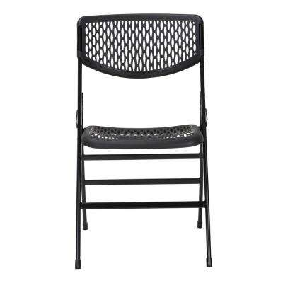 Black Resin Mesh Folding Chair (Set of 2)