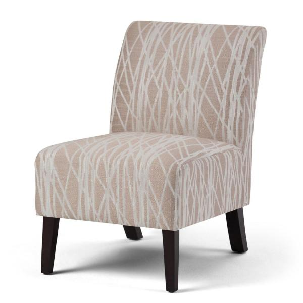 Simpli Home Woodford 22 in. Wide Transitional Accent Chair in Beige, White Patterned Fabric