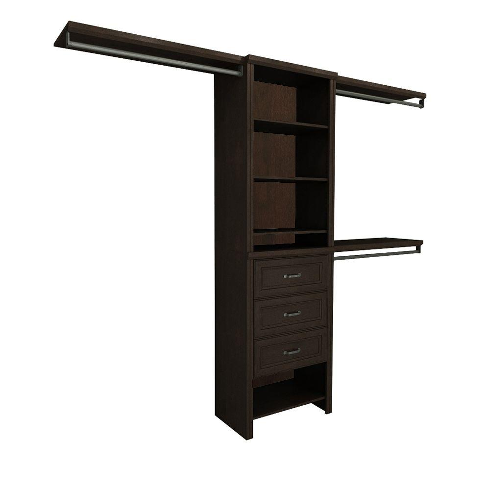 ClosetMaid Impressions 5 ft. - 10 ft. 14.57 in. D x 120 in. W x 83 in. H Chocolate Basic Plus Laminate Closet System