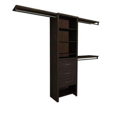 Impressions 5 ft. - 10 ft. 14.57 in. D x 120 in. W x 83 in. H Chocolate Basic Plus Laminate Closet System